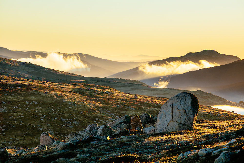 Sunrise over the ridges and mountains surrounding the Snowy River. Kosciuszko National Park.