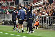 Burton Albion manager Nigel Clough reacts to a decision during the EFL Sky Bet Championship match between Bristol City and Burton Albion at Ashton Gate, Bristol, England on 13 October 2017. Photo by Richard Holmes.