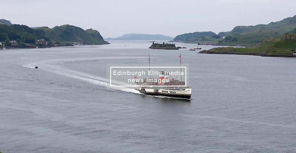 Waverley is one of the world's greatest historic ships – the last sea-going paddle steamer in the world. Waverley starts her season sailing amidst the stunning scenery of the Western Isles . Seen here departing Oban for Armadale and Inverie (c) Stephen Lawson | Edinburgh Elite media