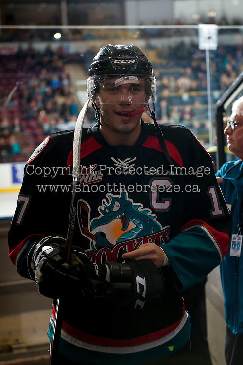KELOWNA, CANADA - OCTOBER 26: Rodney Southam #17 of the Kelowna Rockets exits the ice against the Victoria Royals on October 26, 2016 at Prospera Place in Kelowna, British Columbia, Canada.  (Photo by Marissa Baecker/Shoot the Breeze)  *** Local Caption ***