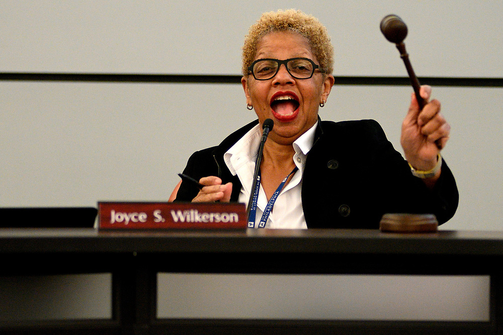 Board of Education chair Joyce Wilkerson, calls to order at the Strat of the monthly meeting at the School District of Philadelphia Headquarters, on February 28, 2019. (Bastiaan Slabbers for WHYY)