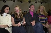 Minnie Driver, Amanda de Cadanet, Josh Wood and Jerry Hall. Matthew Williamson. Saatchi Gallery. 19 February 2001. © Copyright Photograph by Dafydd Jones 66 Stockwell Park Rd. London SW9 0DA Tel 020 7733 0108 www.dafjones.com