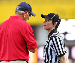 16.07.2011, Ernst Happel Stadion, Wien, AUT, American Football WM 2011, United States of America (USA) vs Canada (CAN), im Bild Mel Tjeerdsma (USA, Head Coach) talking to a referee // during the American Football World Championship 2011 game, USA vs Canada, at Ernst Happel Stadion, Wien, 2011-07-16, EXPA Pictures © 2011, PhotoCredit: EXPA/ T. Haumer