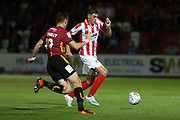 Dylan Connolly and Jacob Greaves   during the EFL Sky Bet League 2 match between Cheltenham Town and Bradford City at Jonny Rocks Stadium, Cheltenham, England on 17 September 2019.