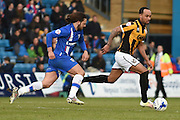Gillingham midfielder Bradley Dack and Port Vale forward Byron Moore during the Sky Bet League 1 match between Gillingham and Port Vale at the MEMS Priestfield Stadium, Gillingham, England on 16 April 2016. Photo by Martin Cole.