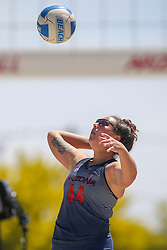 April 7, 2018 - Tucson, AZ, U.S. - TUCSON, AZ - APRIL 07: Arizona Wildcats defender Sara Watanabe (44) hits the ball during a college beach volleyball match between the California Golden Bears and the Arizona Wildcats on April 07, 2018, at Bear Down Beach in Tucson, AZ. Arizona defeated California 3-2. (Photo by Jacob Snow/Icon Sportswire (Credit Image: © Jacob Snow/Icon SMI via ZUMA Press)