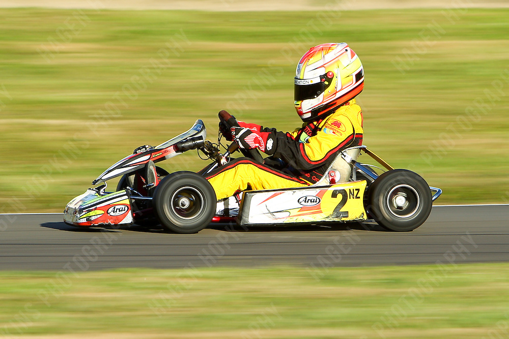 Caleb Cross, 2, 2012 Twilight Trans-Tasman Challenge at Manawatu Kart Club in Palmerston North, New Zealand on Saturday, 18 January 2012. Credit: Hagen Hopkins.