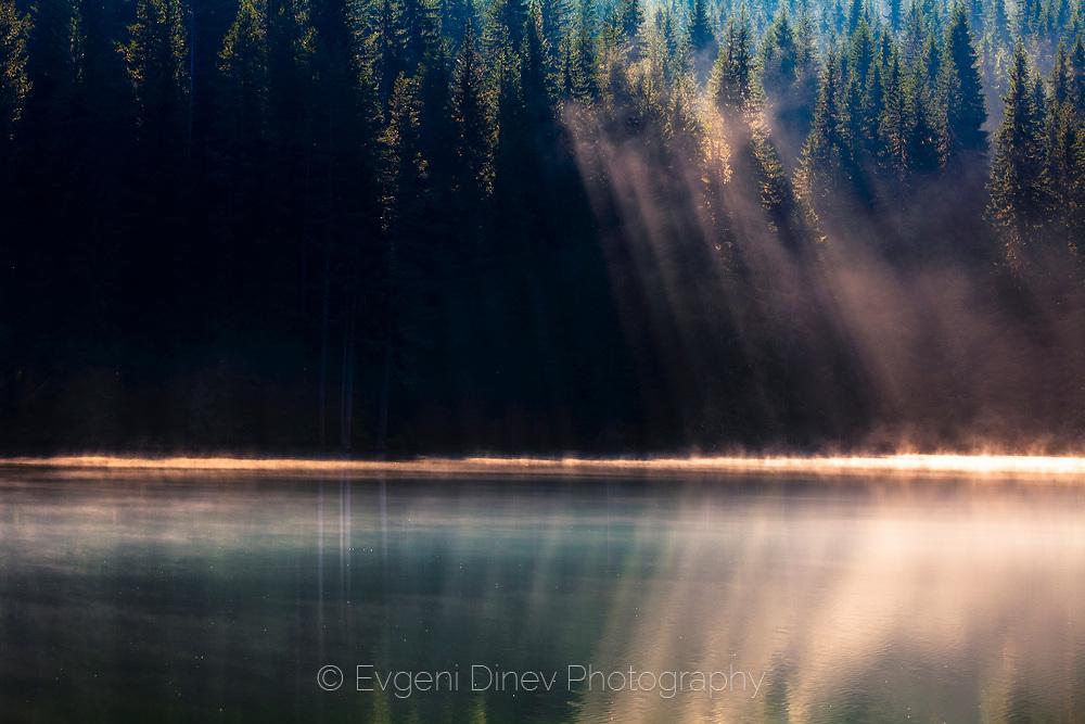 Summer morning by Golyam Beglik lake in Rhodope mountains