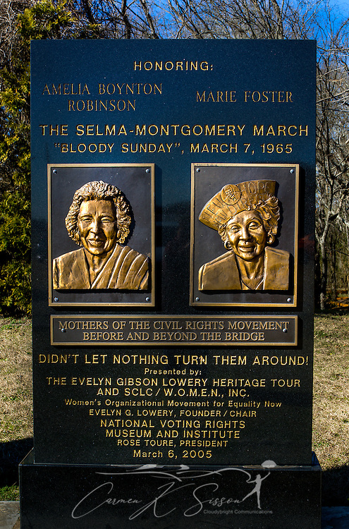 "A monument honors the ""Mothers of the Civil Rights Movement,"" Amelia Boynton Robinson and Marie Foster, at Civil Rights Memorial Park, Feb. 7, 2015, in Selma, Alabama. The park was established in 2001 and includes murals and plaques honoring those who led the Civil Rights movement in Selma in the 1960's. (Photo by Carmen K. Sisson/Cloudybright)"