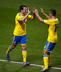 15.10.2013, Friends Arena, Stockholm, SWE, FIFA WM Qualifikation, Schweden vs Deutschland, Gruppe C, im Bild Sverige 14 Tobias Hys�n celebrate 3-4 with Sverige 19 Alexander Kacaniklic // during the FIFA World Cup Qualifier Group C Match between Sweden and Germany at the Friends Arena, Stockholm, Sweden on 2013/10/15. EXPA Pictures � 2013, PhotoCredit: EXPA/ PicAgency Skycam/ Sami Grahn<br /> <br /> ***** ATTENTION - OUT OF SWE *****