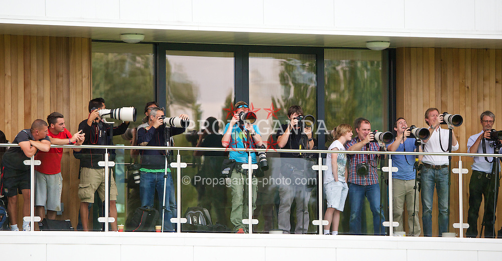 NEWPORT, WALES - Monday, August 12, 2013: Photographers cover Wales training at the FAW National Development Centre at Dragon Park ahead of the International friendly against the Republic of Ireland. (Pic by David Rawcliffe/Propaganda)