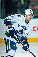 PENTICTON, CANADA - SEPTEMBER 8: Griffen Molino #13 of Vancouver Canucks warms up against the Winnipeg Jets on September 8, 2017 at the South Okanagan Event Centre in Penticton, British Columbia, Canada.  (Photo by Marissa Baecker/Shoot the Breeze)  *** Local Caption ***