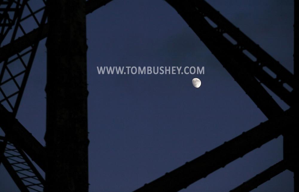 Salisbury Mills, NY - The moon seen through the girders of the Moodna Viaduct on Nov. 28, 2009.
