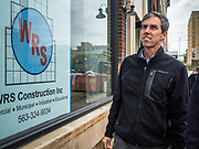 20 MAY 2019 - DAVENPORT, IOWA: BETO O'ROURKE walks past a flooded business in downtown Davenport. O'Rourke, running to be the 2020 Democratic nominee for the US Presidency, has made climate change a central part of his campaign. He toured flood damage in Davenport Monday. The Mississippi River flooded through downtown Davenport on April 30 and much of downtown is still recovering from the flood.     PHOTO BY JACK KURTZ