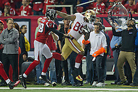 20 January 2013: Tight end (85) Vernon Davis of the San Francisco 49ers catches a pass against the Atlanta Falcons during the second half of the 49ers 28-24 victory over the Falcons in the NFC Championship Game at the Georgia Dome in Atlanta, GA.