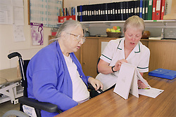 Occupational therapist with patient doing MEAMS (Middlesex Elderly Assessment of Mental State) cognitive screening assessment for patients over 65,
