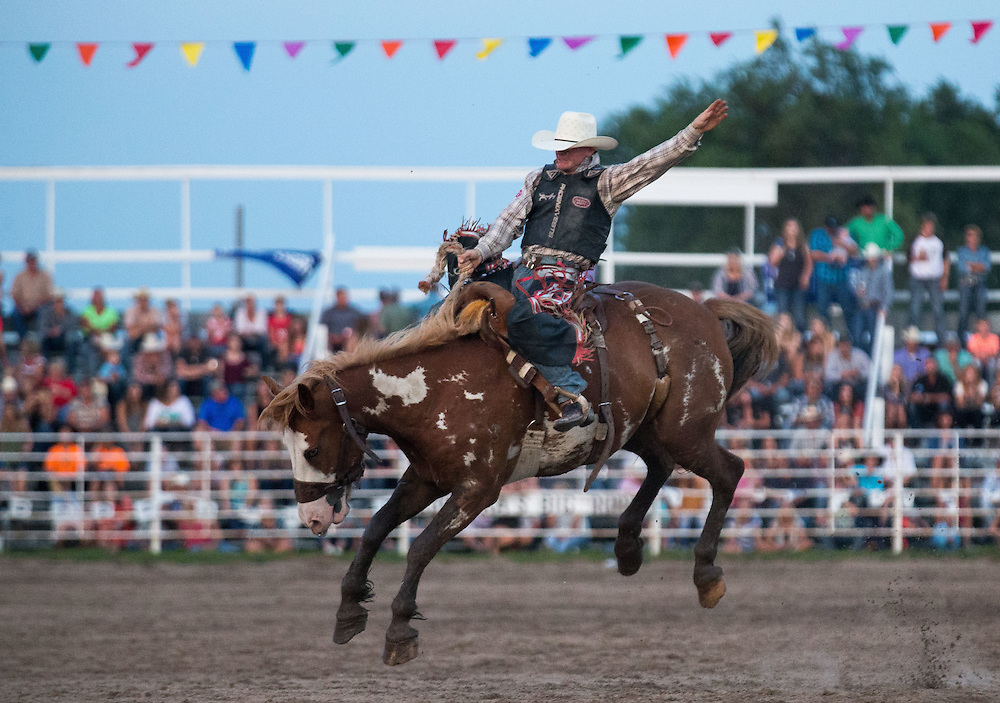 Last competitor in saddle bronc riding at Nebraska's Big Rodeo on Saturday, July 30, 2016, in Burwell.