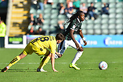 Tafari Moore (22) of Plymouth Argyle on the attack during the EFL Sky Bet League 1 match between Plymouth Argyle and Burton Albion at Home Park, Plymouth, England on 20 October 2018.