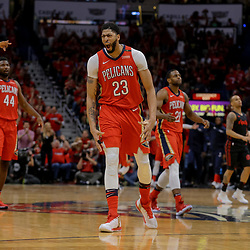 Apr 19, 2018; New Orleans, LA, USA; New Orleans Pelicans forward Anthony Davis (23) reacts to a three point basket during the second half in game three of the first round of the 2018 NBA Playoffs against the Portland Trail Blazers at the Smoothie King Center. The Pelicans defeated the Trail Blazers 119-102.  Mandatory Credit: Derick E. Hingle-USA TODAY Sports