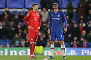 Bayern Munich forward Robert Lewandowski (9) and Chelsea defender Andreas Christensen (4) during the Champions League match between Chelsea and Bayern Munich at Stamford Bridge, London, England on 25 February 2020.