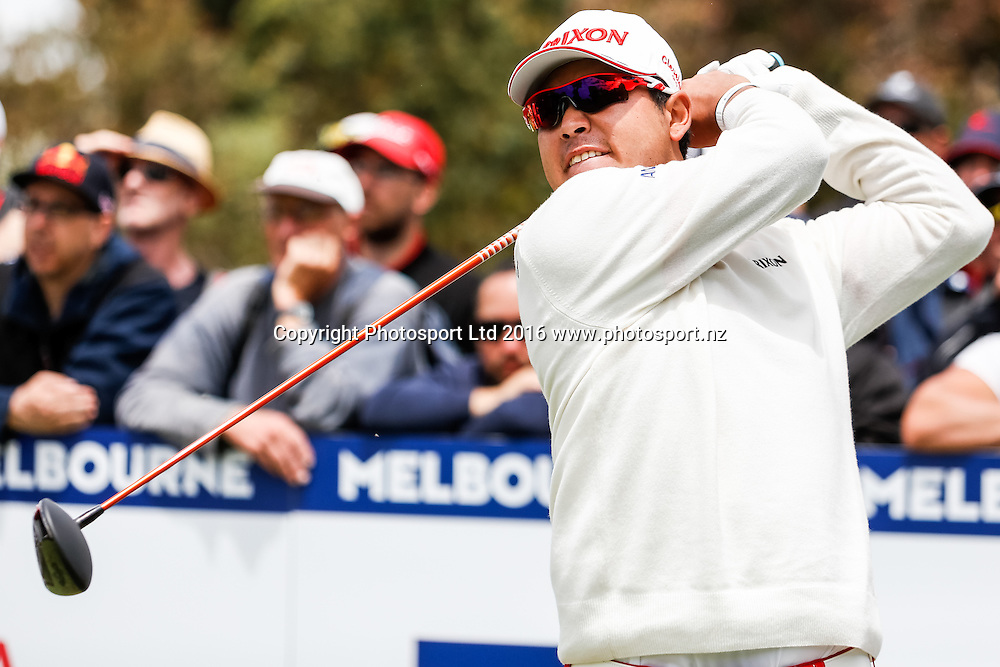 Hideki Matsuyama (JAP) tees off during the round 1 of the World Cup of Golf at Kingston Heath Golf Club, Melbourne Australia. Thursday 24th November 2016. Copyright Photo Brendon Ratnayake / www.photosport.nz