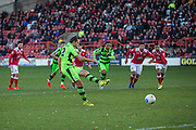 Forest Green Rovers Darren Carter(12) takes a penalty and Wrexham's goalkeeper Luke Coddington makes a save during the Vanarama National League match between Wrexham FC and Forest Green Rovers at the Racecourse Ground, Wrexham, United Kingdom on 26 November 2016. Photo by Shane Healey.