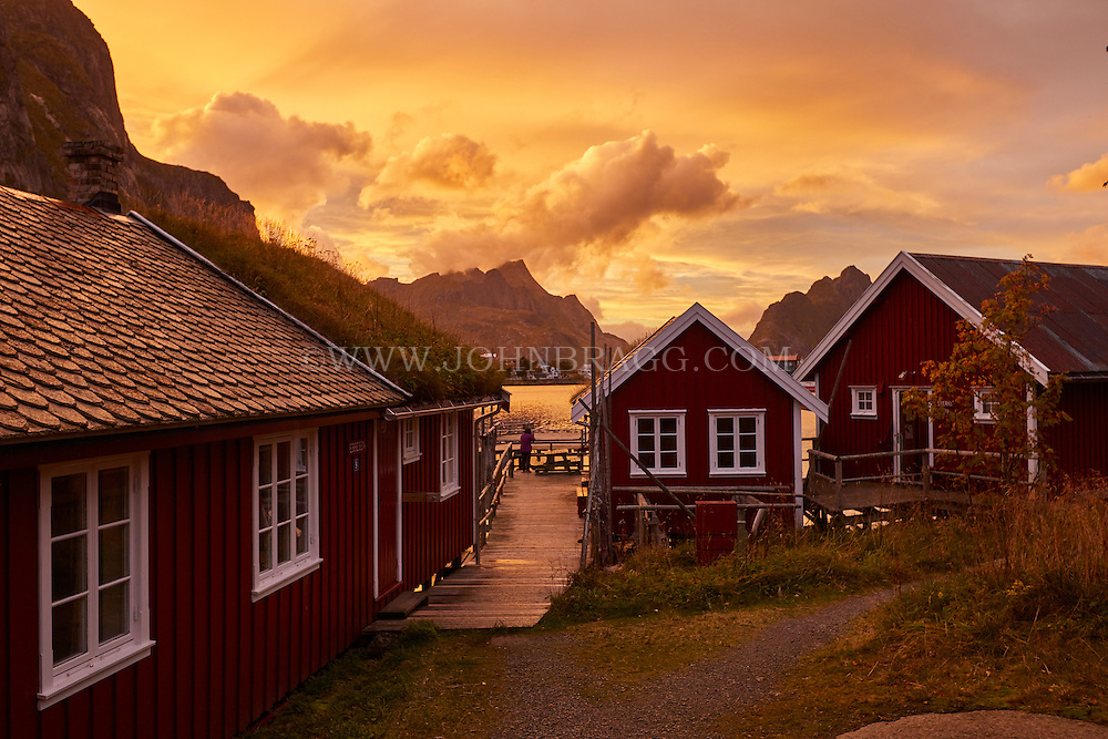 Sunset over the town of Reine in the Lofoten Islands of Norway