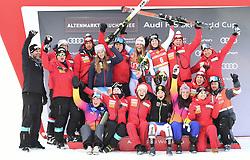 11.01.2020, Keelberloch Rennstrecke, Altenmark, AUT, FIS Weltcup Ski Alpin, Abfahrt, Damen, Siegerehrung, im Bild Michelle Gisin (SUI) Corinne Suter (SUI) // Michelle Gisin (SUI) Corinne Suter (SUI) during the winner ceremony for the women's Downhill of FIS ski alpine world cup at the Keelberloch Rennstrecke in Altenmark, Austria on 2020/01/11. EXPA Pictures © 2020, PhotoCredit: EXPA/ Erich Spiess