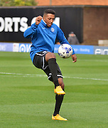 Rochdale Midfielder, Nathaniel Mendez-Laing warms up before the Sky Bet League 1 match between Bury and Rochdale at Gigg Lane, Bury, England on 17 October 2015. Photo by Mark Pollitt.