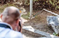 03.09.2016, Kaprun, AUT, Mann feuert in Kaprun mit Schrotflinte vom Balkon, im Bild Ermittler am Tatort bei der Beweissicherung. Ein offenbar alkoholisierte Mann hat am Freitagabend in Kaprun einen Cobra-Einsatz ausgelöst. Der Mann habe mit einer Schrotflinte immer wieder das Feuer vom Balkon seines Hauses eröffnet, teilte die Landespolizeidirektion Salzburg kurz vor Mitternacht auf APA-Anfrage mit. Dabei habe er zwei Fahrzeuge beschädigt, Menschen seien nicht verletzt worden // the special police force Cobra. 'A man has triggered a Cobra-use in Kaprun, on Friday night. The apparently intoxicated man had open fired with a shotgun repeatedly from the balcony of his home...' Informed the Police Directorate Salzburg, just before midnight. He had damaged two vehicles however no people where injured, Kaprun, Austria on 2016/09/03. EXPA Pictures © 2016, PhotoCredit: EXPA/ JFK