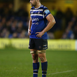Charlie Ewels (c) of Bath Rugby during the Gallagher Premiership match between Bath Rugby and Sale Sharks at the The Recreation Ground Bath England.2nd December 2018,(Photo by Steve Haag Sports)