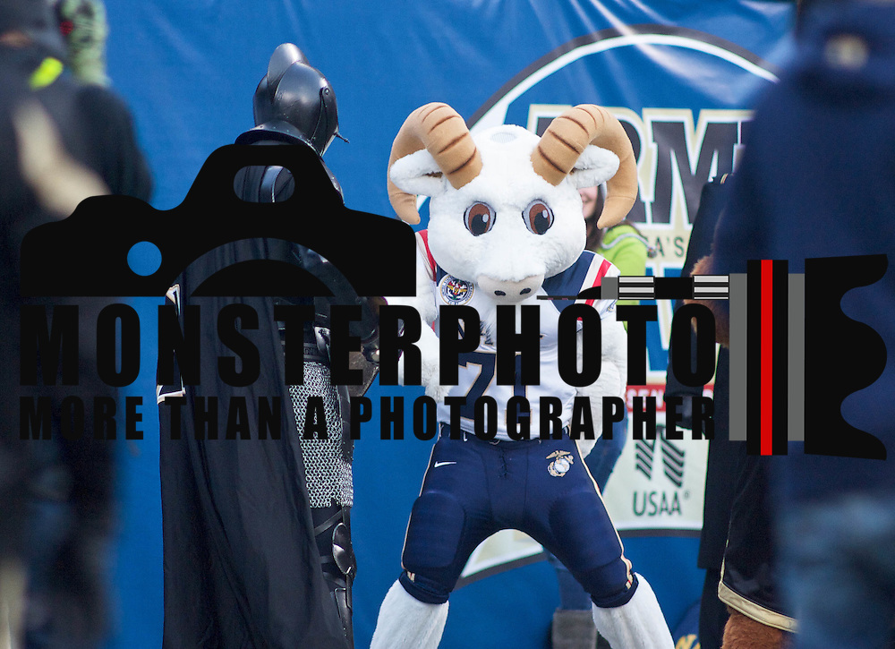 Army's Black Knight and Navy Mascot Bill the Goat on the sidelines during the 111th Army Navy Game. Navy set the tone early in the game as Navy defeats Army 31-17 in front of 69,223 at  Lincoln Financial Field in Philadelphia Pennsylvania