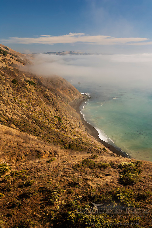 Steep and rugged hills and fog over the Sonoma coast, California