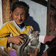 Girls playing with cat in Center Town, Thimphu, Bhutan, Asia