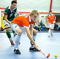HEEMSKERK- Zaalhockey - Tim Jenniskens van Bloemendaal. Bloemendaal-Alkmaar.  Copyright Koen Suyk