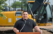 Robert Chavez comments during a groundbreaking ceremony for new Sam Houston Math, Science and Technology Center School, March 24, 2017.