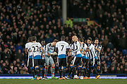 Newcastle huddle before the kick off of the Barclays Premier League match between Everton and Newcastle United at Goodison Park, Liverpool, England on 3 February 2016. Photo by Mark P Doherty.
