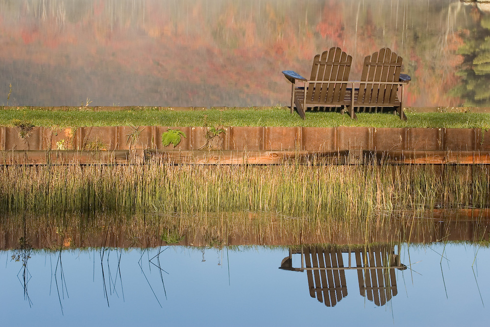 Early morning light and adirondack chairs, Seyon Pond, Groton State Forest