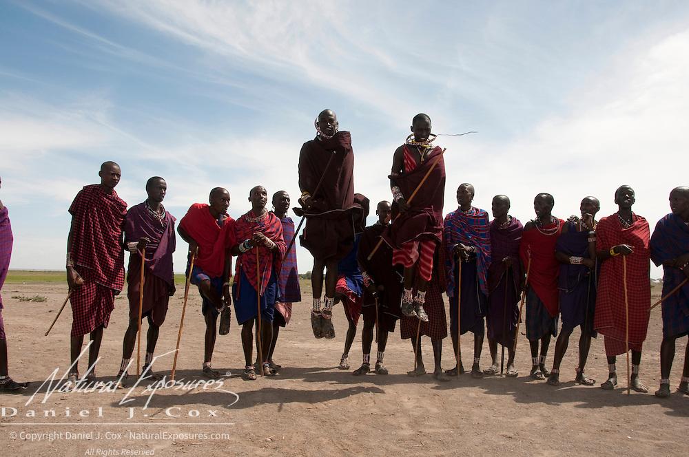 Masai at thier village. Amboseli National Park, Kenya, Africa