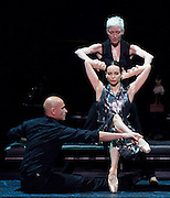 Diana Vishneva<br /> On the Edge <br /> at The London Coliseum, London, Great Britain <br /> 14th April 2015 <br /> <br /> Switch <br /> <br /> choreography by Jean-Christophe Maillot <br /> <br /> Diana Vishneva<br /> <br /> Bernice Coppieters<br /> <br /> Gaetan Morlotti <br /> <br /> <br /> <br /> Photograph by Elliott Franks <br /> Image licensed to Elliott Franks Photography Services