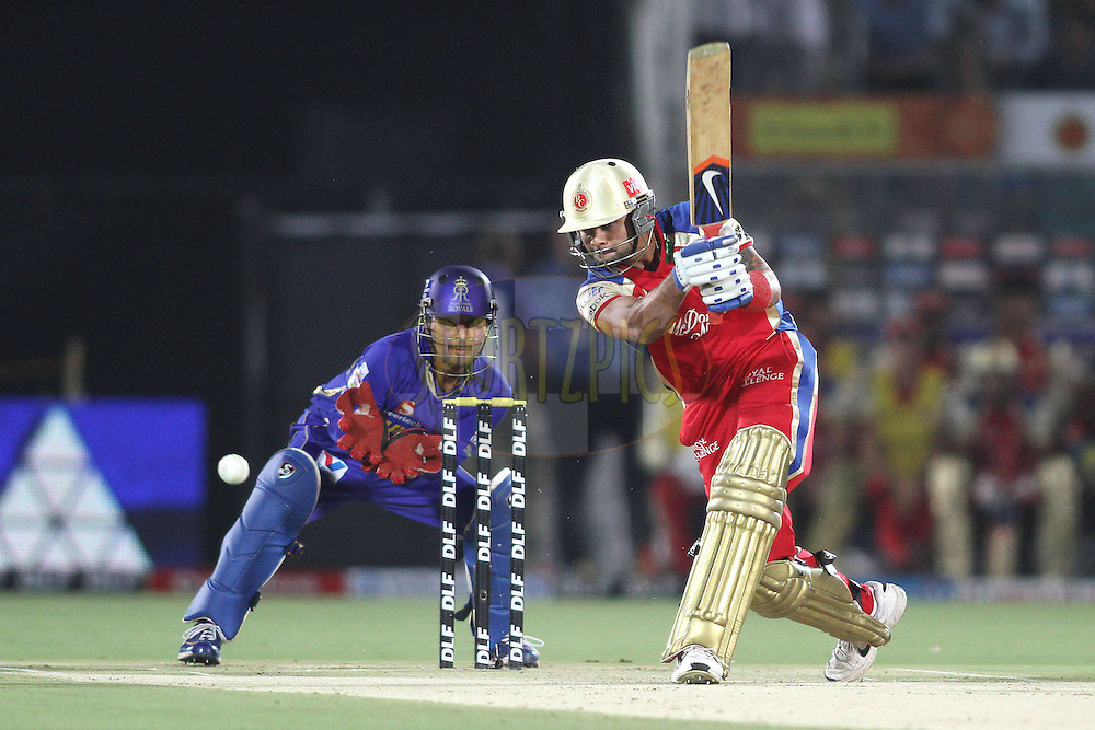 Virat Kohli of the Royal Challengers Bangalore drives a delivery during match 30 of the the Indian Premier League (IPL) 2012  between The Rajasthan Royals and the Royal Challengers Bangalore held at the Sawai Mansingh Stadium in Jaipur on the 23rd April 2012..Photo by Shaun Roy/IPL/SPORTZPICS