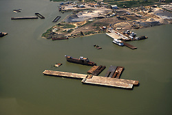 Aerial view of flat barges