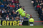 Brighton central midfielder, Beram Kayal (7) clears acrobatically during the Sky Bet Championship match between Milton Keynes Dons and Brighton and Hove Albion at stadium:mk, Milton Keynes, England on 19 March 2016. Photo by Dennis Goodwin.