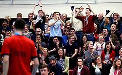 Bristol Jets fans cheer on Chris Coles (Capt) of Bristol Jets in the men's doubles - Photo mandatory by-line: Robbie Stephenson/JMP - 06/02/2017 - BADMINTON - SGS Wise Arena - Bristol, England - Bristol Jets v Surrey Smashers - AJ Bell National Badminton League