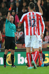 Lee Mason sends Stoke's Peter Crouch off for a second bookable offence - Photo mandatory by-line: Dougie Allward/JMP - Mobile: 07966 386802 - 29/10/2014 - SPORT - Football - Stoke - Britannia Stadium - Stoke City v Southampton - Capital One Cup - Fourth Round