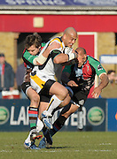 Twickenham, GREAT BRITAIN, Warriors Dale RUSMUSSEN, tacked by Adrian JARVIS and right Tosh MASSON,  during the Guinness Premiership match, Harlequins vs Worcester Warriors, played at the Twickenham Stoop on Sat. 16th Feb 2008.  [Mandatory Credit, Peter Spurrier/Intersport-images]