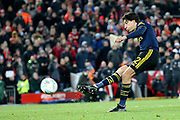 Arsenal defender Hector Bellerin (2) takes the first penalty of the shoot out and scores 0-1 during the EFL Cup match between Liverpool and Arsenal at Anfield, Liverpool, England on 30 October 2019.