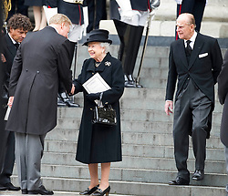 Mark Thatcher is greeted by The Queen as they leave St Paul's Cathedral at the end of the ceremonial funeral, St Paul's Cathedral, London, UK, Wednesday 17 April, 2013, Photo by: i-Images