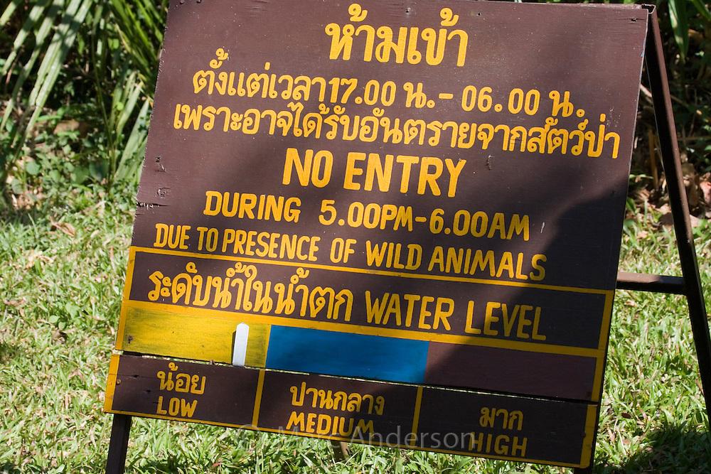 No entry animal warning sign in Khao Yao National Park, Thailand