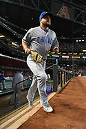 Aug 12, 2017; Phoenix, AZ, USA; Chicago Cubs outfielder Kyle Schwarber (12) takes the field for the MLB game against the Arizona Diamondbacks at Chase Field. Mandatory Credit: Jennifer Stewart-USA TODAY Sports